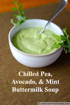 photo of a bowl of chilled pea, avocado, and mint buttermilk soup
