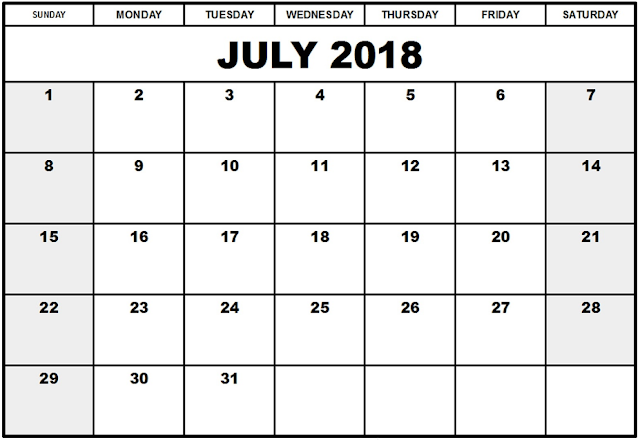 July 2018 Printable A4 and landscape