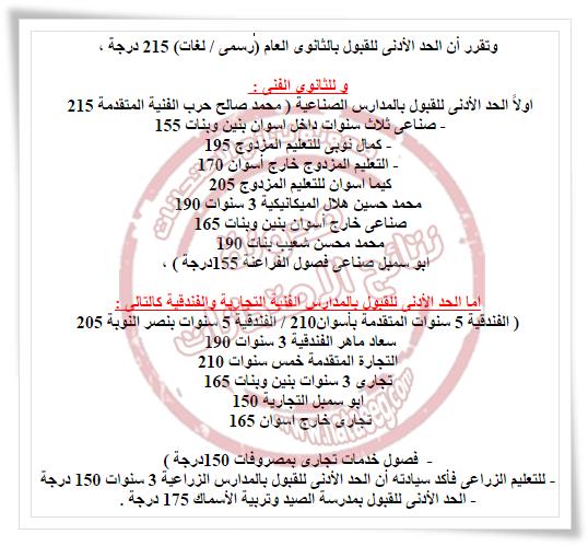 تنسيق ومجموع القبول بالصف الاول الثانوى بمحافظة أسوان2017