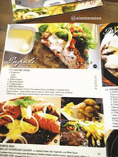 Papali steak house Padang Menu