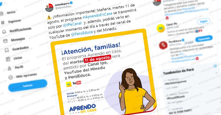 COMUNICADO MINEDU: Este martes 11 de agosto, el programa «Aprendo En Casa» se transmitirá solo por Canal Ipe, YouTube y PerúEduca