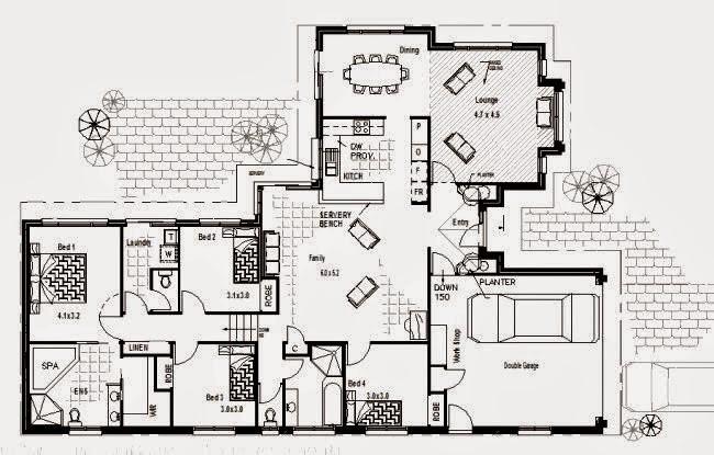 gambar denah rumah 4 kamar tidur 1 lantai 3