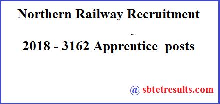 Northern Railway Recruitment 2018, Apprentice  posts, Railway Recruitment 2018, Railway Jobs
