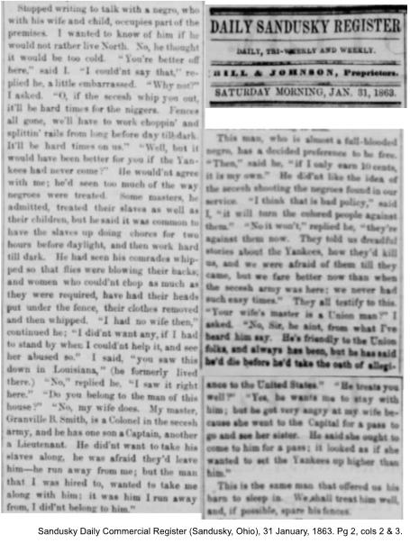 Sandusky Daily Commercial Register (Sandusky, Ohio), 31 January, 1863. Pg. 2, cols 2 & 3.