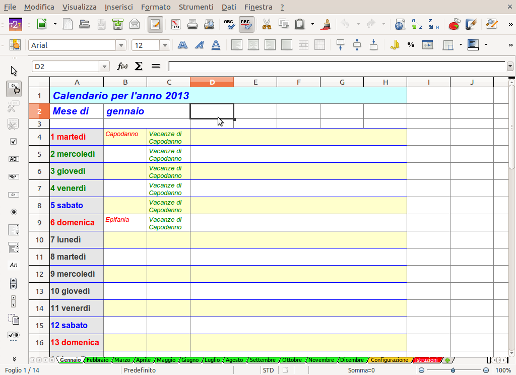 Openoffice Libreoffice Un Calendario Planner Per Il Nuovo Anno