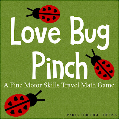 Love Bug Pinch Activity in an Altoid Tin // Party Through the USA // ladybug toys // travel activities