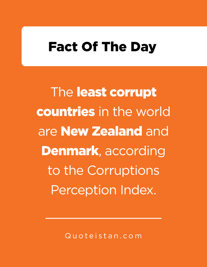 The least corrupt countries in the world are New Zealand and Denmark, according to the Corruptions Perception Index.