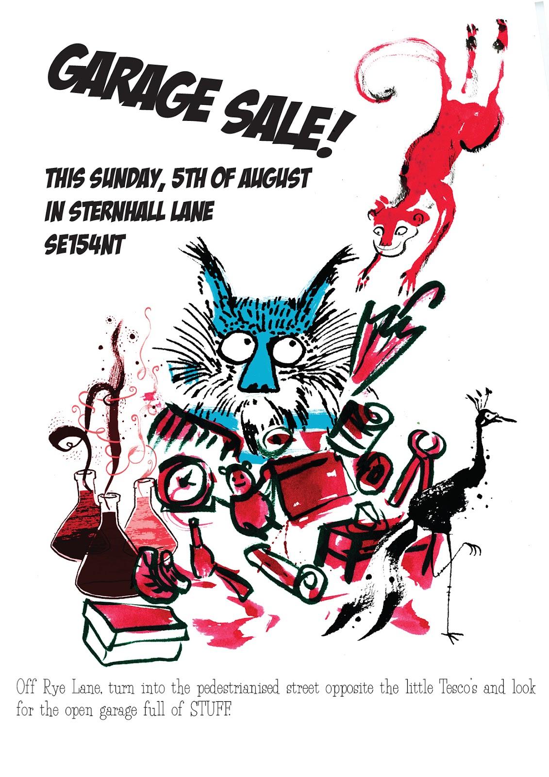 letters from schwarzville garage sale poster
