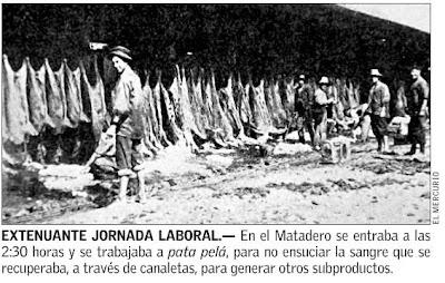 Photograph inside the Santiago slaughterhouse/ matadero