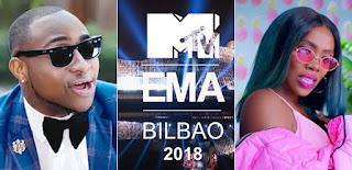 Davido And Tiwa Savage Make MTV EMA 2018 Nomination List