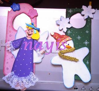 navidad foamy goma eva muñeco de nieve angel noche buena