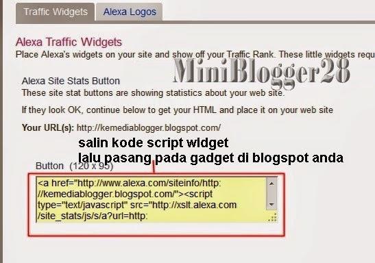 menambahkan widget alexa rank