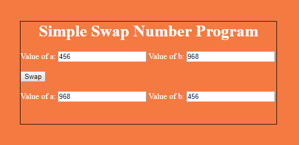 Swapping Two Numbers in javascript