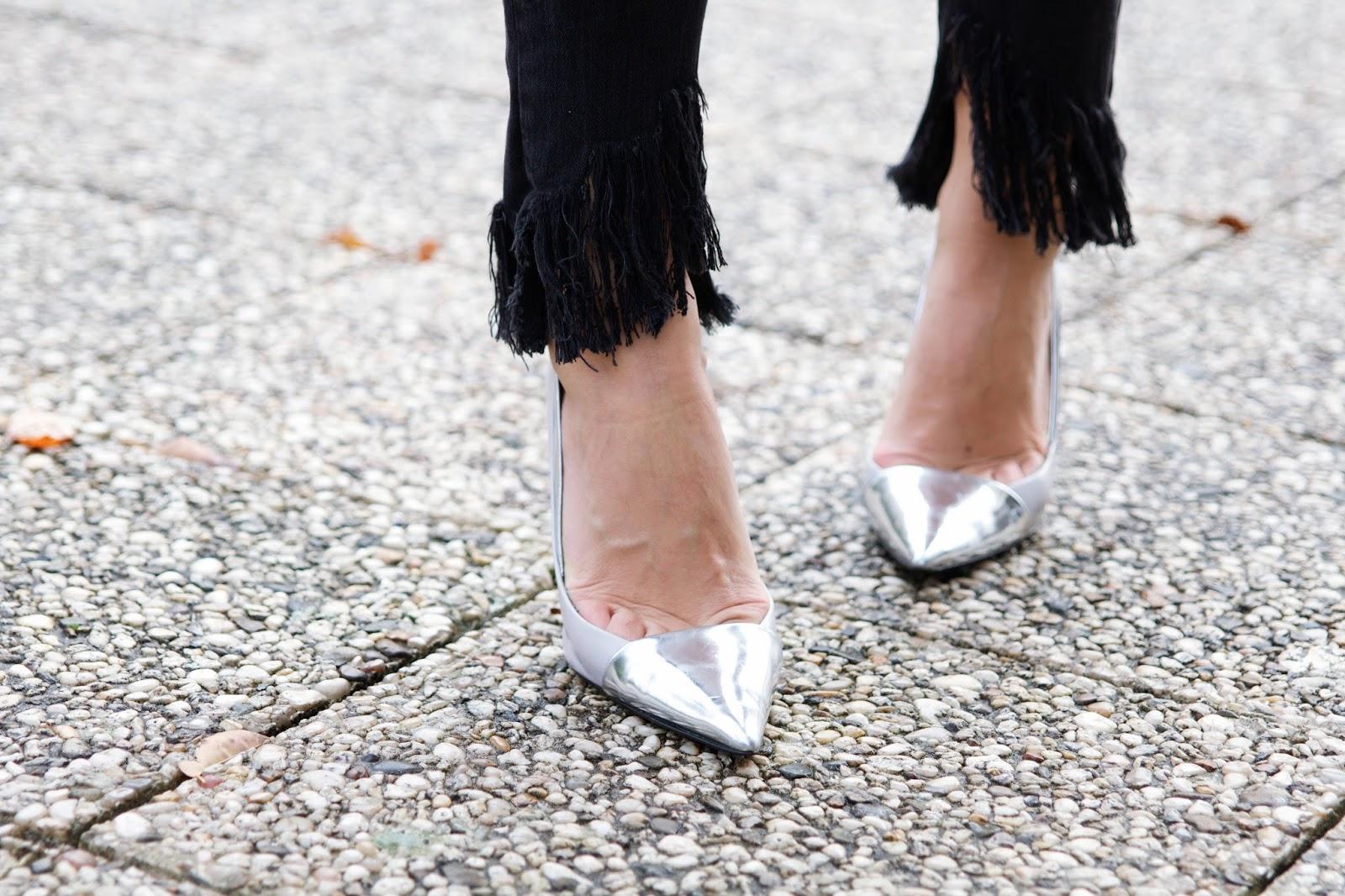 chaussures argentées Zara