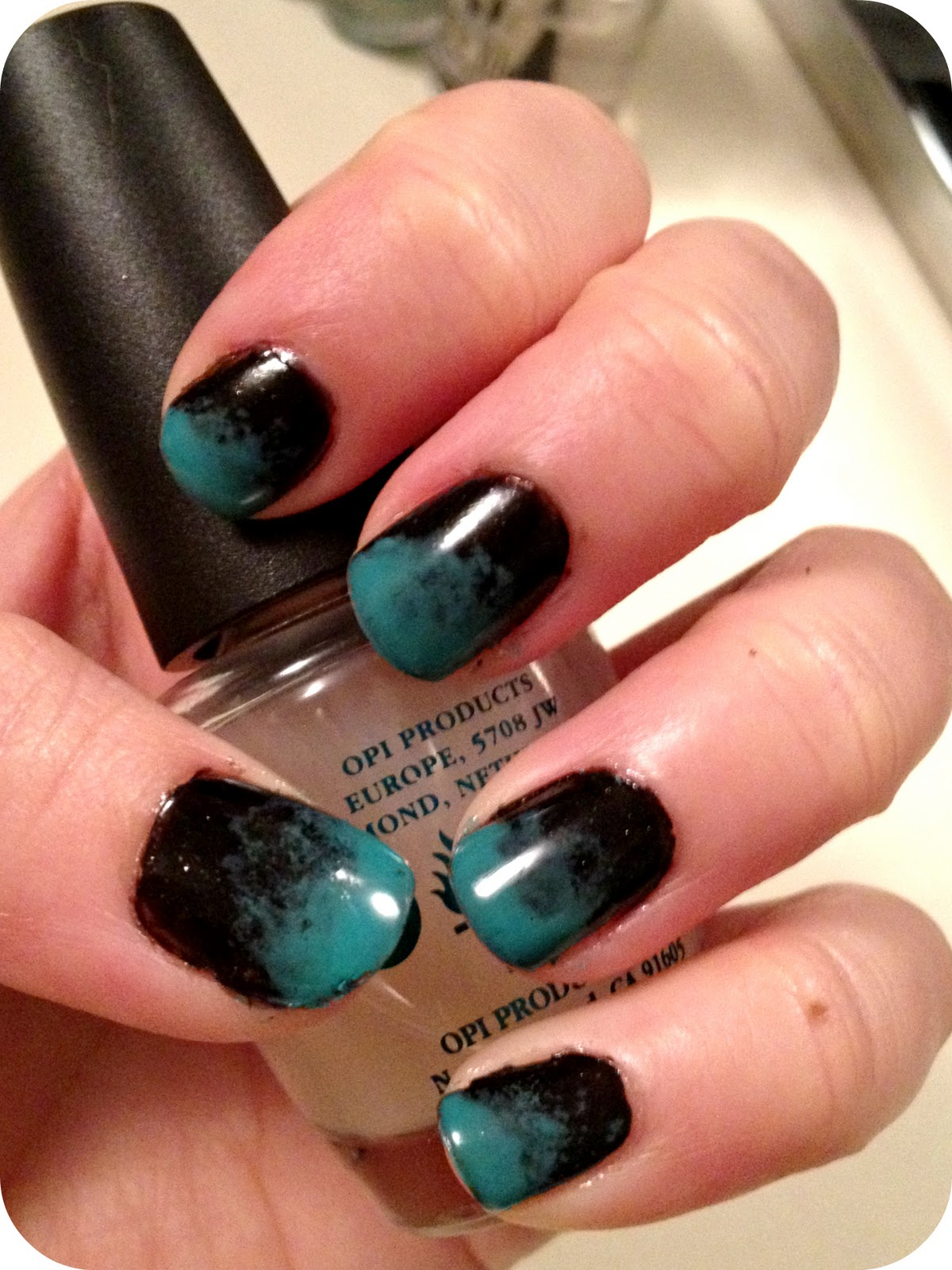 Ombre Nail Trend: Teal & Black Ombre Nails