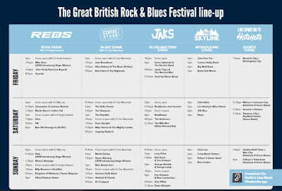 Stage times - Great British Rock and Blues Festival 2019 - Skegness
