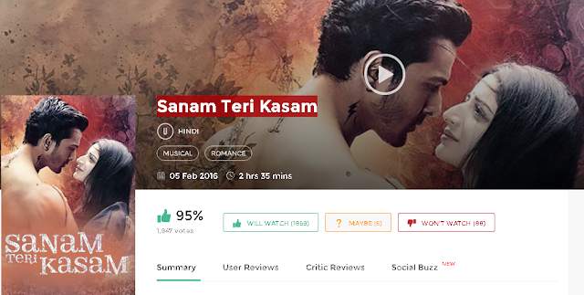 Sanam Teri Kasam (2016) Full DvDRip Hindi Movie 300mb Free Download