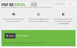 Tampilan awal pdf ke Excel