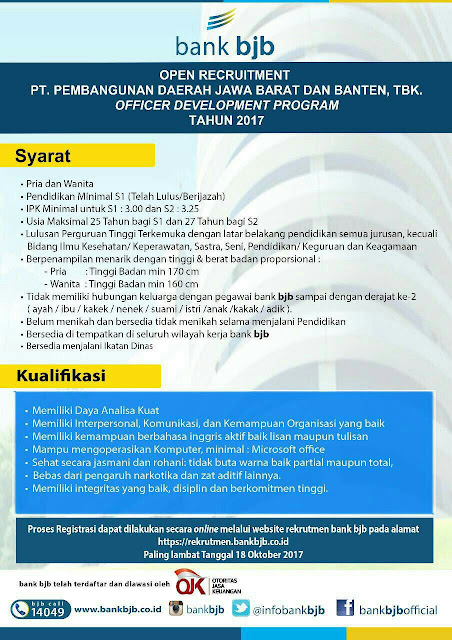 Open recruitment Bank BJB 18 Oktober 2017
