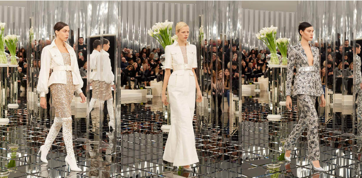 chanel-spring-summer-2017-couture-collection (25)-sequin-dress-white-jacket-boots-studded-long-white-coat-belt-floral-suit-metallic-belt