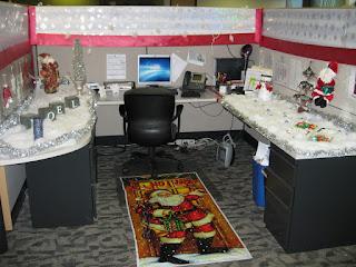 wonderful office cubicle decoration plus santa claus themed rug feats lively desk decor ideas