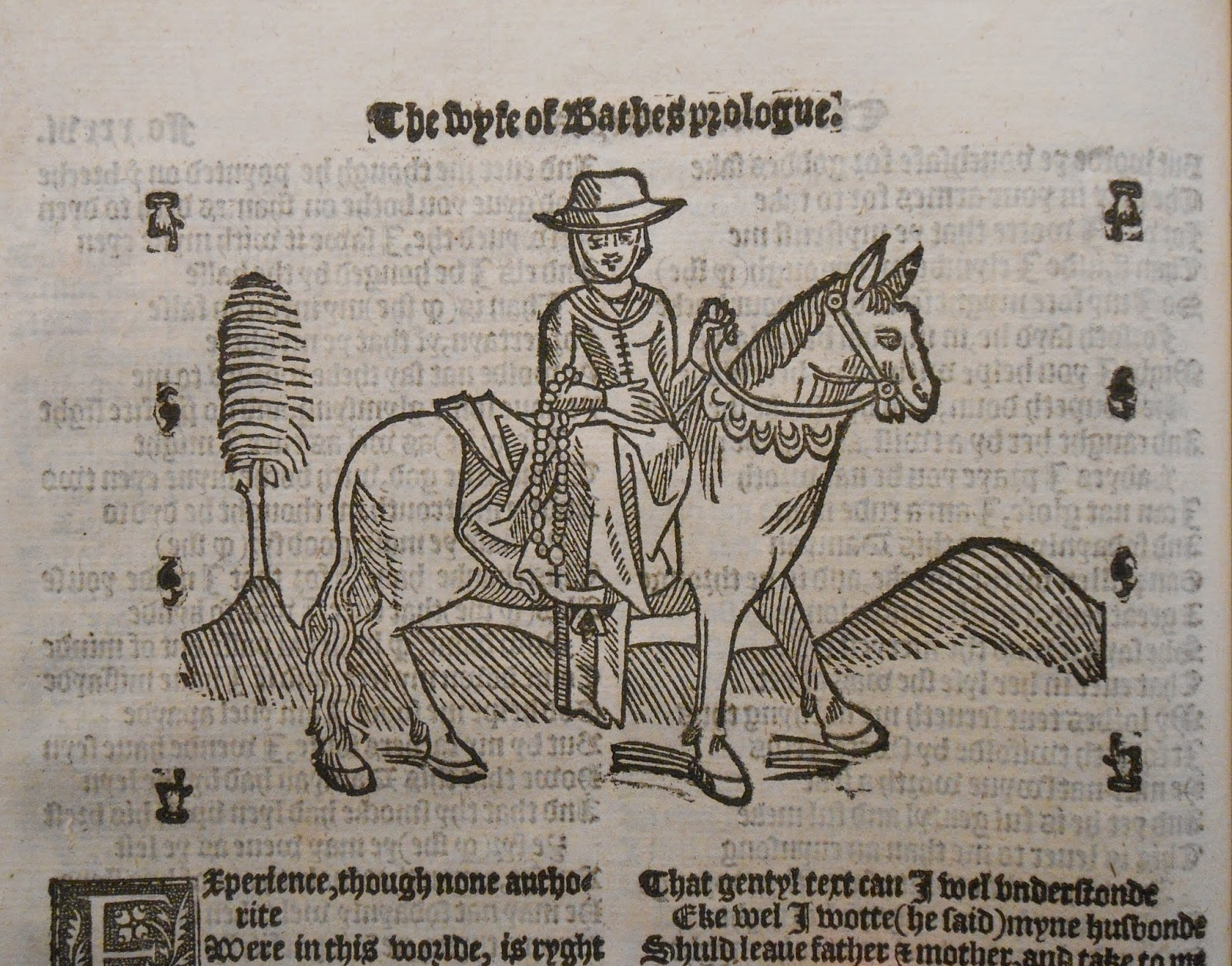 A woodcut of a woman in travel clothes on horseback, holding a rosary.