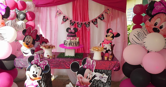 Decoracion fiesta Minnie Rosa