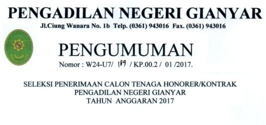 Lowongan Kerja Pengadilan Negeri Gianyar Tingkat Sma Tahun 2017 Rekrutmen Lowongan Kerja Bulan Februari 2021