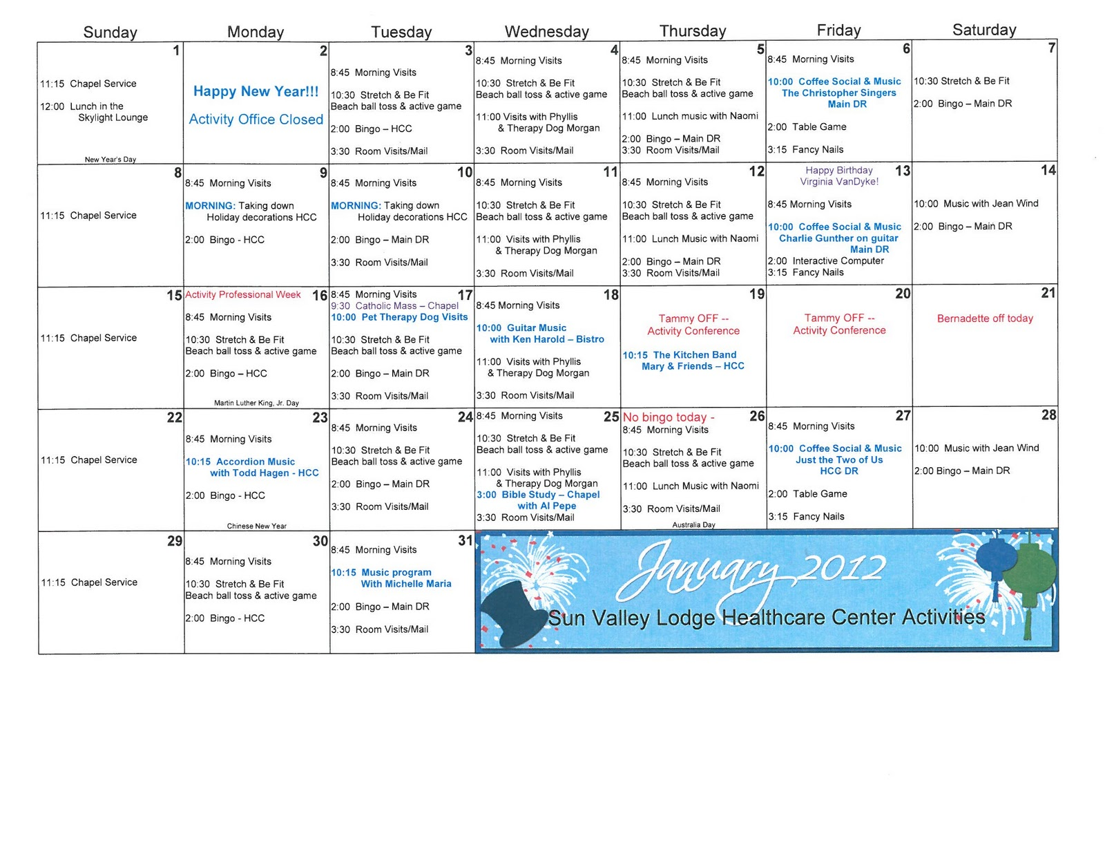 January Hcc Activities