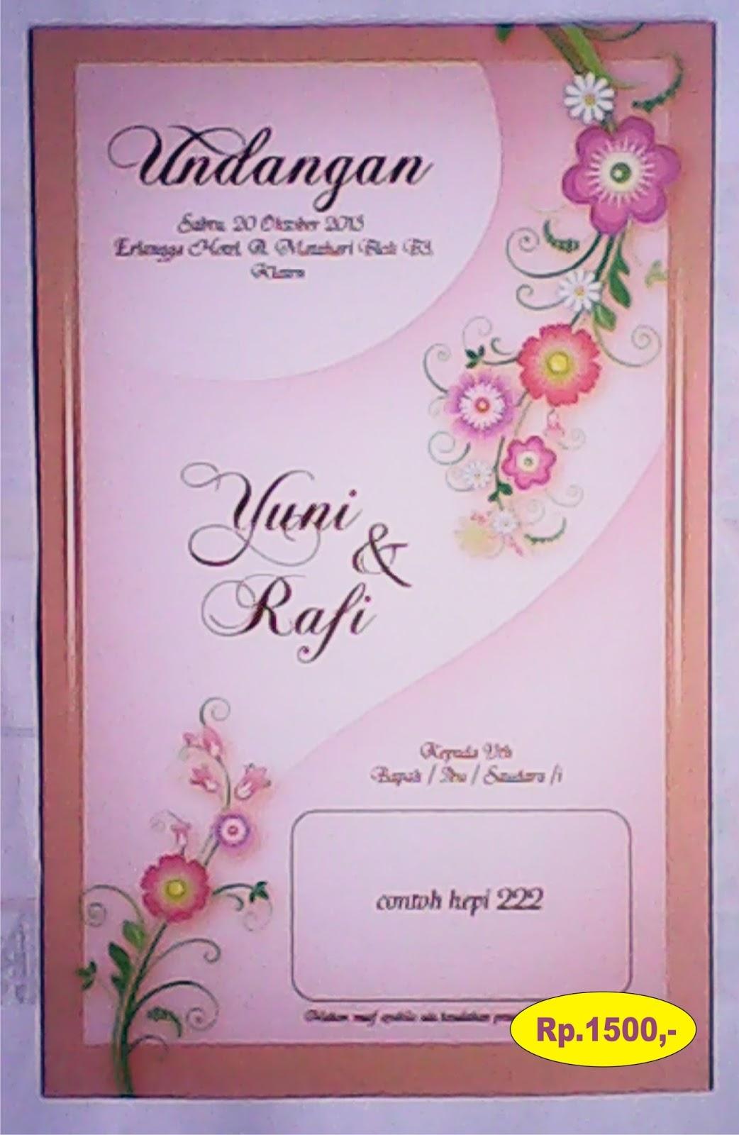 Kartu Undangan Pernikahan Harga Mulai Rp Seribu Rupiah
