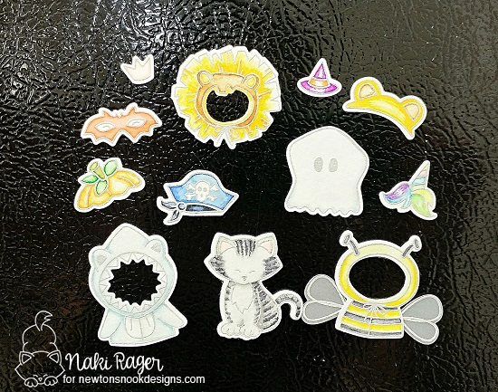 Halloween Cat in Costumes magnet set by Naki Rager | Newton's Costume Party Stamp Set and Die Set by Newton's Nook Designs #newtonsnook #handmade