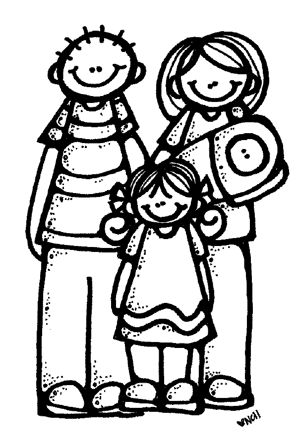 family praying clipart black and white - 599×895