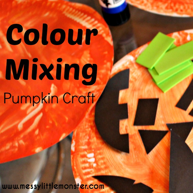 Colour mixing pumpkin craft for toddlers and preschoolers