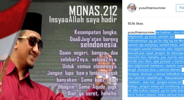 Ustadz Yusuf Mansur: Monas 212, Insya Allah Saya Hadir, Kesempatan Langka...