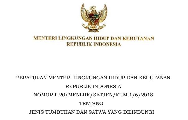 Permen LHK No 20 Tahun 2018