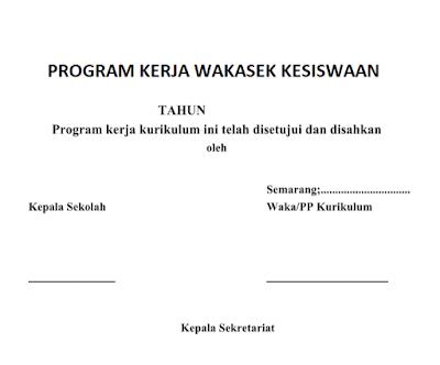 Download Contoh Program Kerja Wakasek Kesiswaan Terbaru
