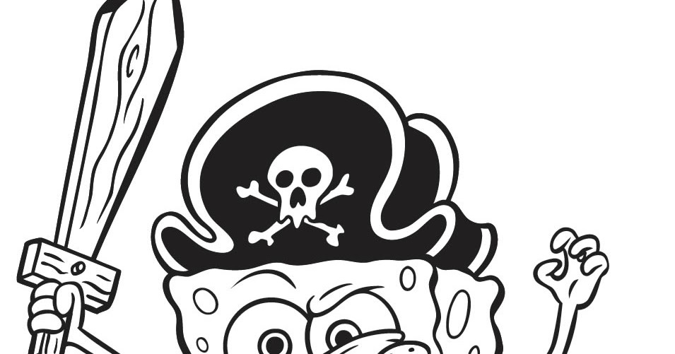 Para Colorir: Bob Esponja Pirata