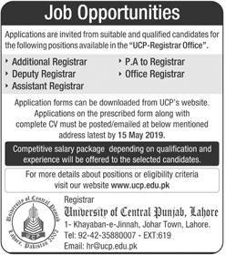 University Of Central Punjab Jobs