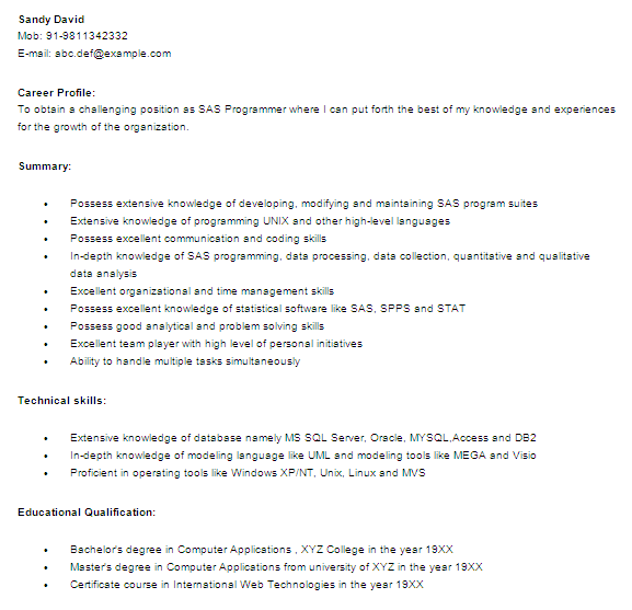 Resume Templates For It Freshers Download