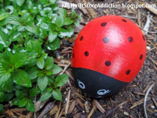 Repurposed Easter egg ladybug