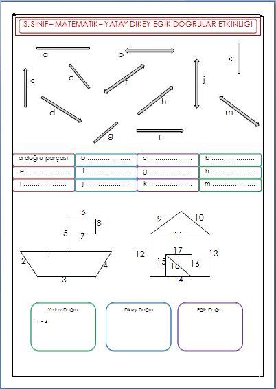 Yatay Dikey Ve Egik Dogrular Calisma Sayfasi 3 Sinif Matematik