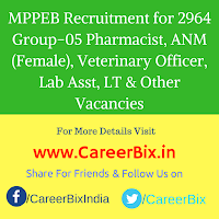 MPPEB Recruitment for 2964 Group-05 Pharmacist, ANM (Female), Veterinary Officer, Lab Asst, LT & Other Vacancies