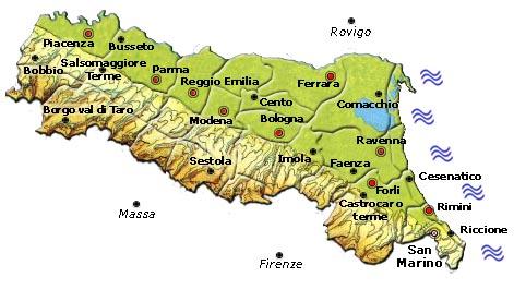 Bologna Cartina Politica.Mappa Della Citta Di Provincia Regionale Italia Cartina Politica Della Emilia Romagna