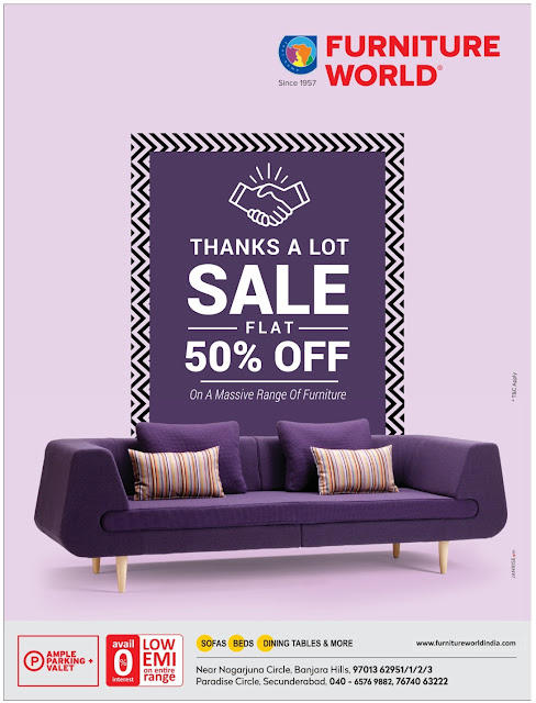 Furniture World flat 50% off | June 2017 Discount Offers