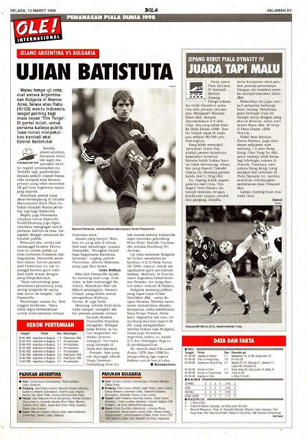 ARGENTINA VS BULGARIA GABRIEL BATISTUTA