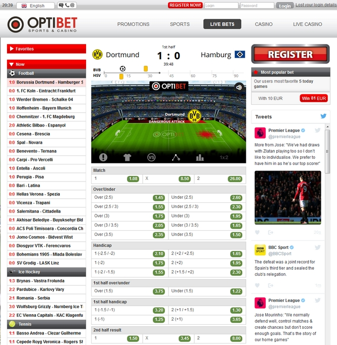 Optibet Live Betting Screen
