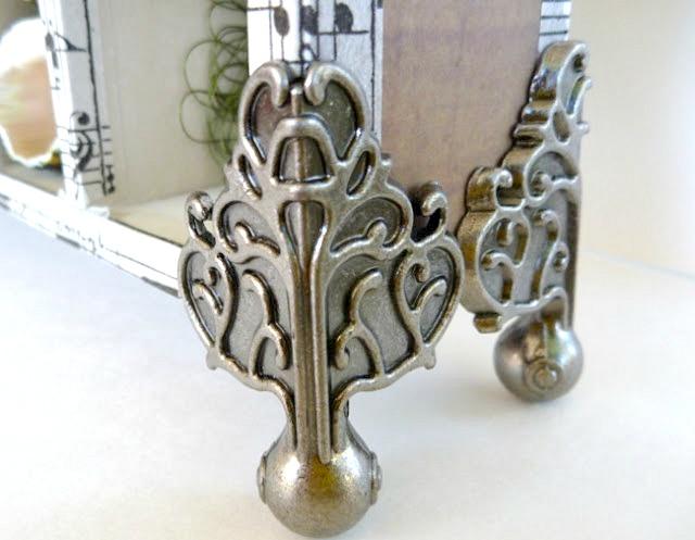 Decorative Metal Footings on Tim Holtz Configurations Box Closeup