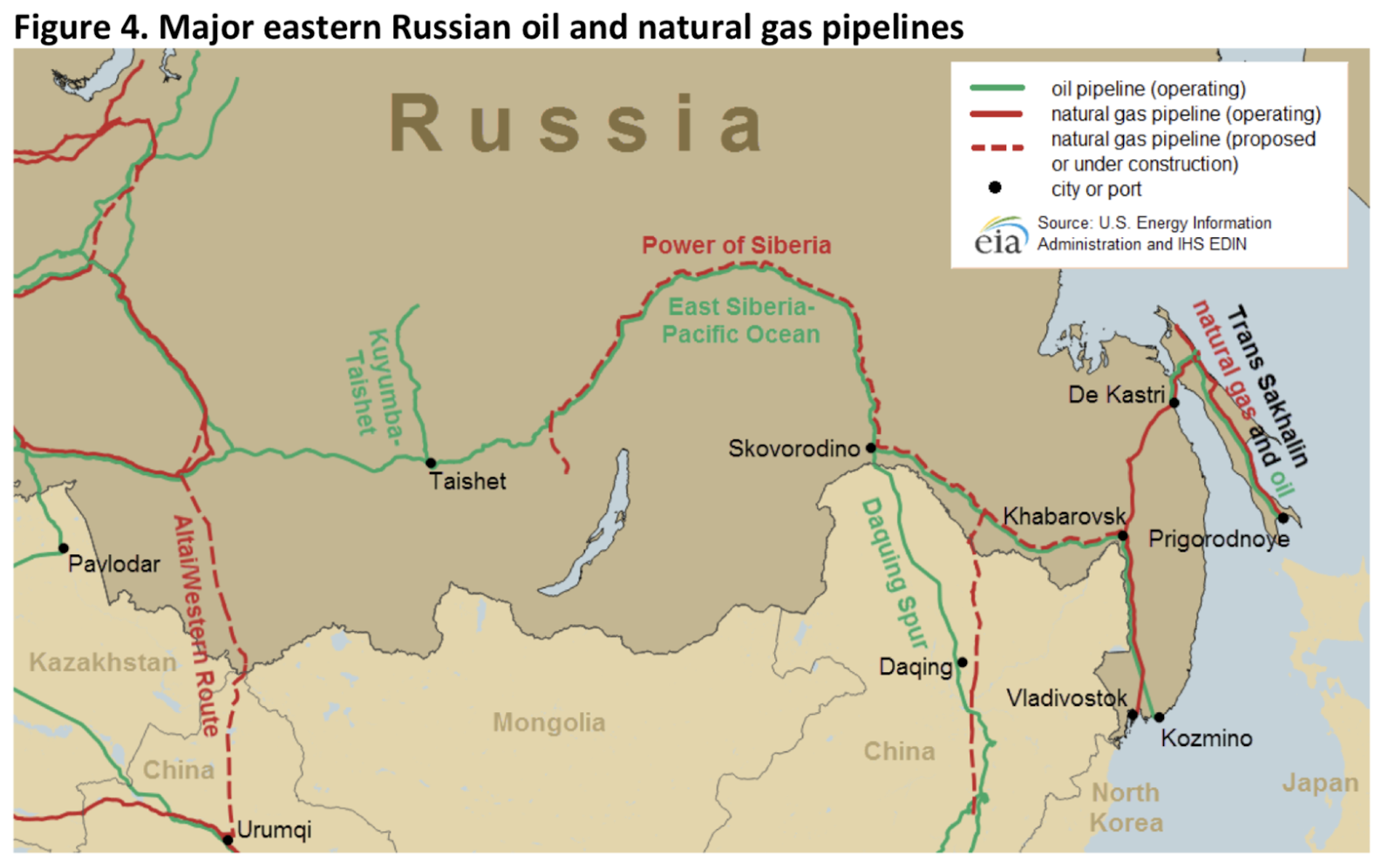 in eastern russia and as a result there is a significant investment in oil infrastructure transporting oil to the pacific ocean as shown on this map