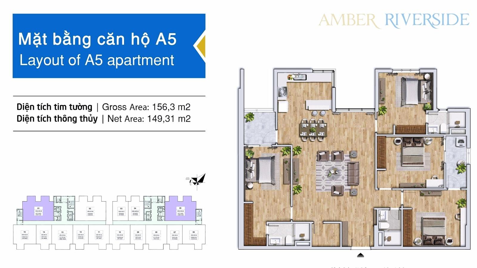 Thiết kế căn hộ A5 chung cư Amber Minh Khai