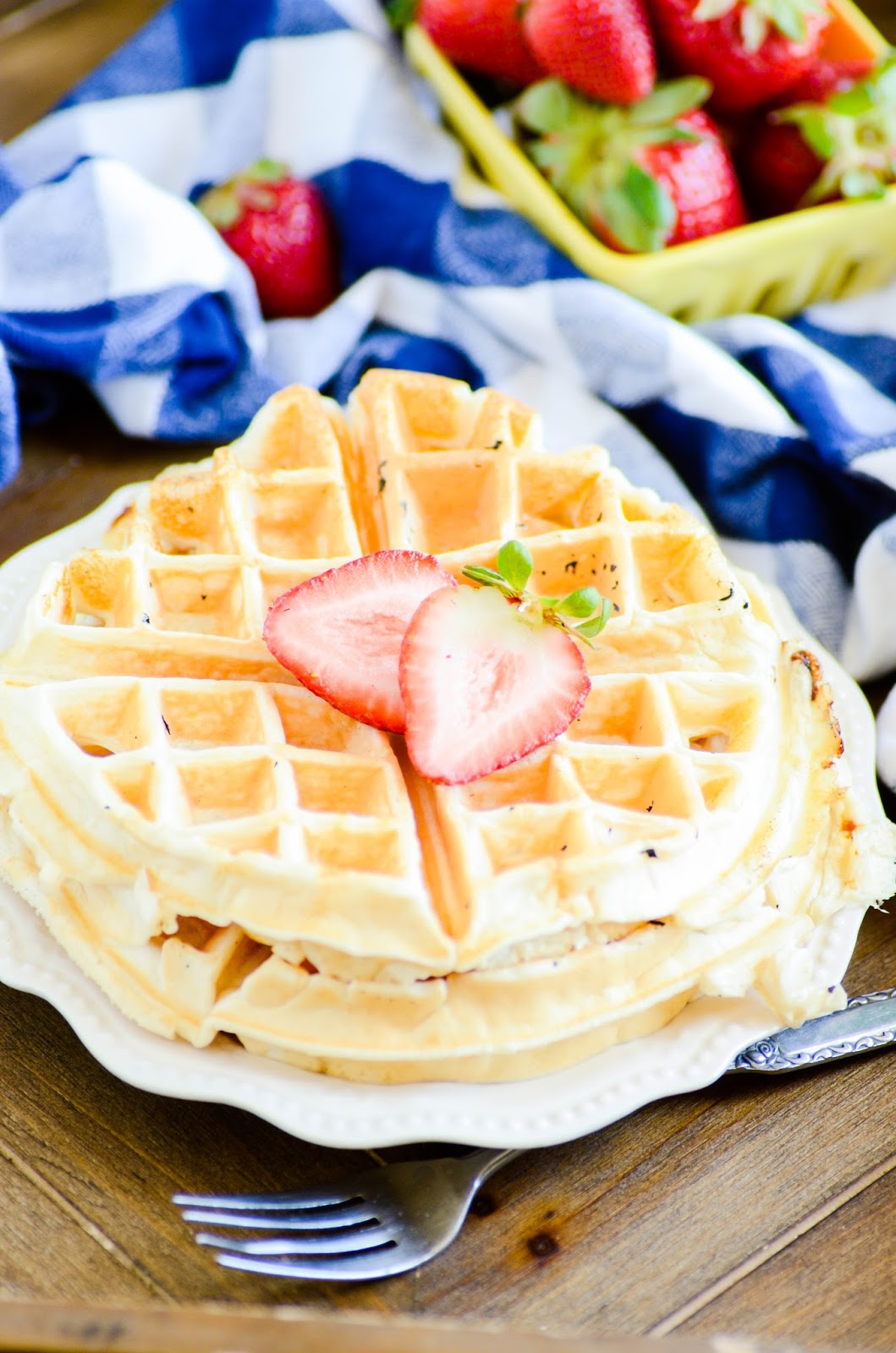 These Soft & Fluffy Protein Waffles are a delicious and nutrition-packed way to start the day! Two BIG waffles with 15g of protein and practically melt in your mouth.